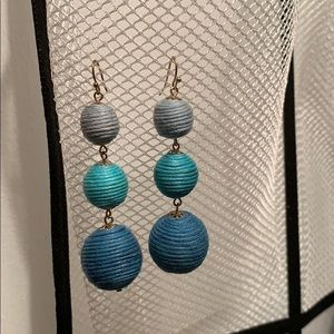 Kenneth Jay Lane Blue Thread Wrapped Ball Earring